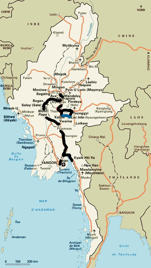 Notre itin�raire en Birmanie