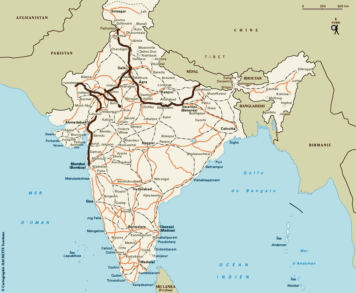 Notre itin�raire en Inde