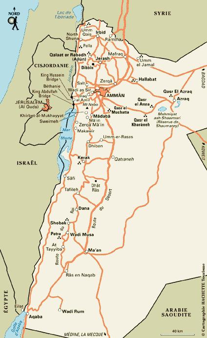 Notre itin�raire en Jordanie