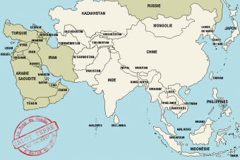 Carte du continent asiatique