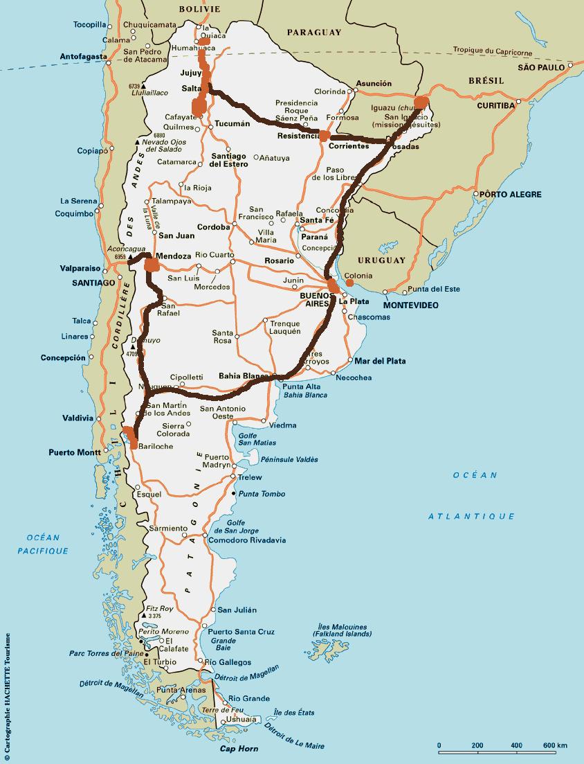 Notre itin�raire en Argentine