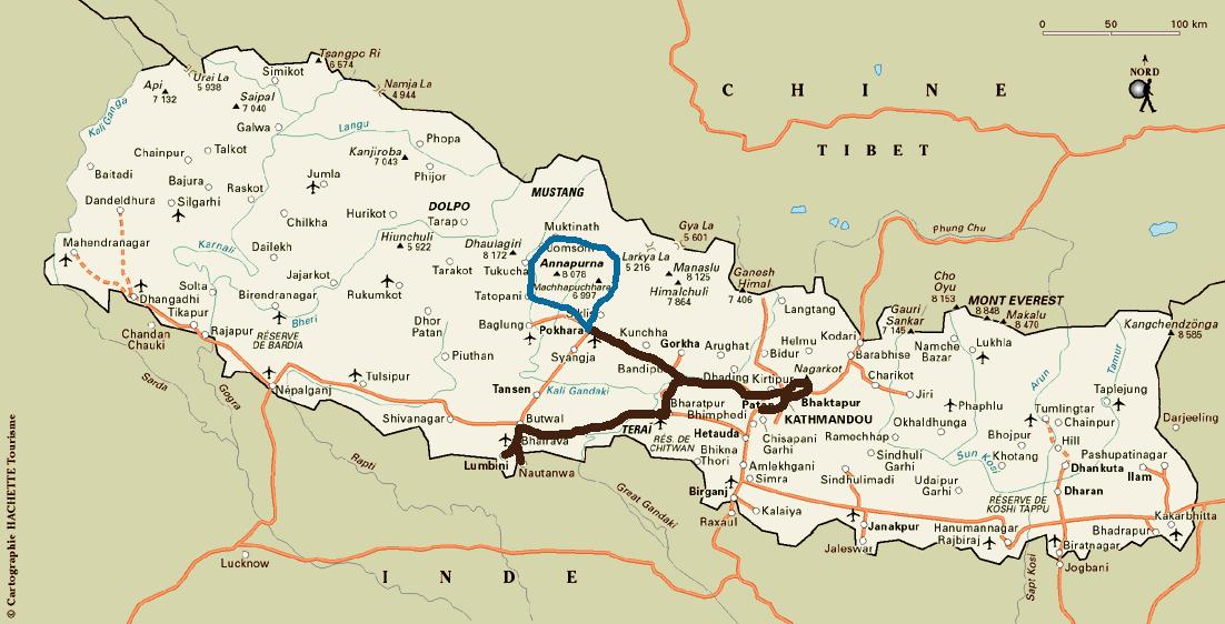 Notre itin�raire au Népal